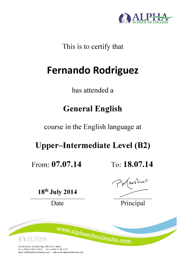 Alpha School Of English Language  Certificates