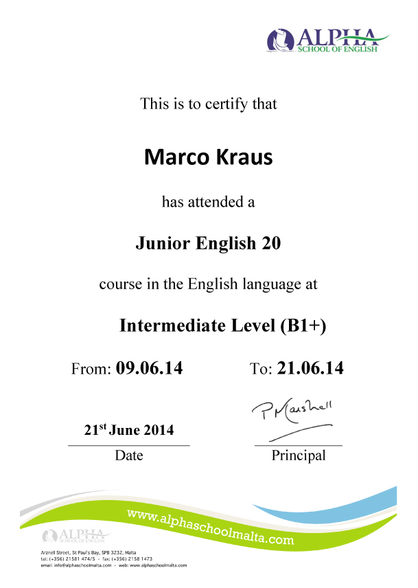 Alpha school of english language certificates you will find three sample documents here click to enlarge to show you the kind of certificate youll receive at the end of your course at alpha school of yadclub Choice Image