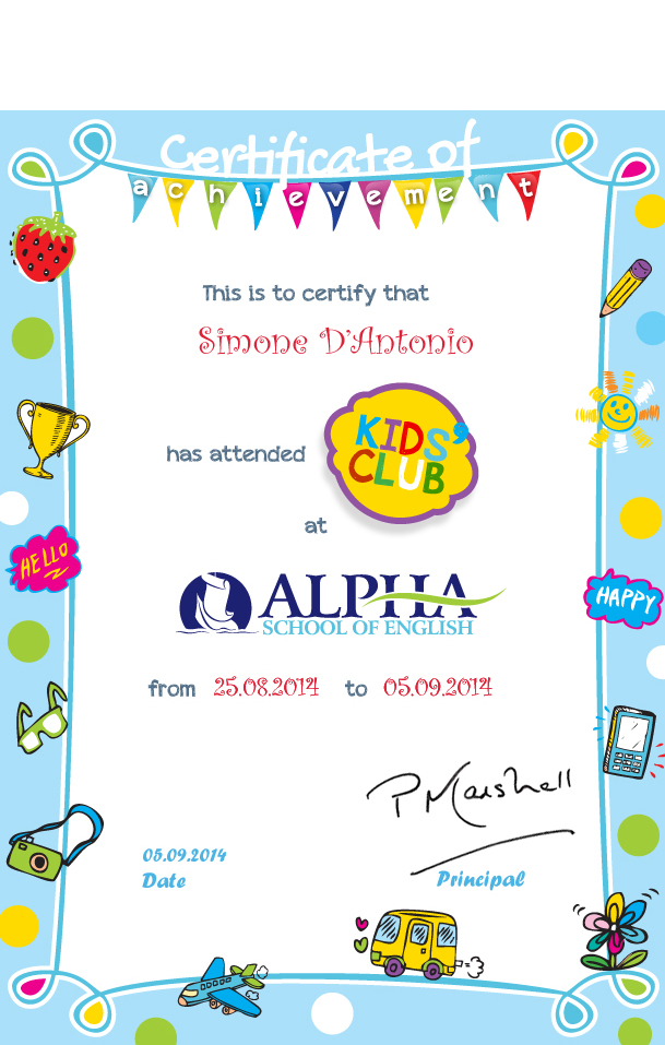 Alpha School Of English Language  Certificates Fr
